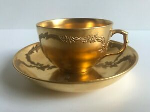 kpm berlin gold relief cup and saucer age around 1900