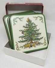 "Spode Christmas Tree acrylic cork coasters place mats square box of 6 England 4"""