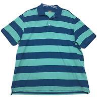 Foundry Polo Shirt Mens Size XXL 2XL Blue Green Striped Short Sleeve Cotton READ