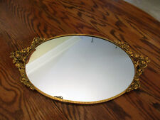 "Stunning Vintage Mirror-Vanity-24kt-Gold-P lated-Globe-Rose-Filigree 17"" x10"""