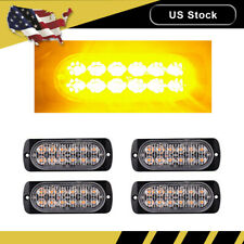 4PCS Amber Car 12 LED Emergency Strobe Light Kit Bar Beacon Hazard Flash Warning