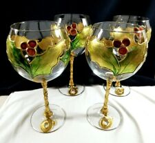 Decorated in Italy Clear Crystal Gold Hollyberry Wine goblet stemware lot of 4
