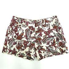 Ann Taylor Loft Womens Sz 2 Burgundy Ivory Paisley Linen Blend Shorts EUC