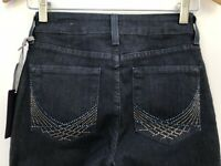 NYDJ - NWT Retail $110 - Barbara Embellished Boot Jeans Dark Enzyme Blue Size 0P