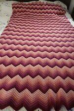 "Hand Crochet Afghan, Ripple Stitch, Rose Colors 46"" x 73"""