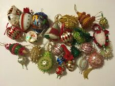 25 Vintage Sequin Beaded Handmade Christmas Ball Ornaments Rare Shapes Shiny