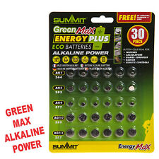1 x 30Pc ALKALINE BUTTON / COIN / WATCH CELL ECO BATTERIES GREEN MAX  Saver Pack