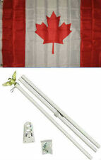 3x5 Canada Canadian Flag White Pole Kit Set 3'x5'