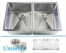 "32"" 15mm (1/2"") Radius Square Corner Double Bowl Stainless Steel Kitchen Sink"