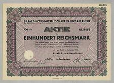Basalt-AG in Linz am Rhein, Aktie über 100 RM, vom September 1940 !