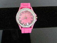 Geneva pink rubber clear crystal 12 BIG #'s ICED OUT BLING pink face Watch NEW