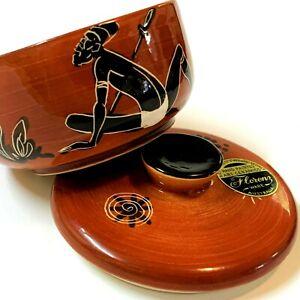 FLORENZ WARE Aust Pottery Lidded Bowl: Ochre Glaze, Aboriginal Motif, Orig Label