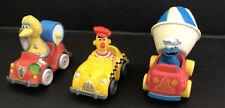 3 Vintage Sesame Strreet Characters Die Cast Cars 1980's