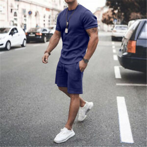 Men's Tracksuit Two Pieces Cotton Sets Short Sleeve Shirt Shorts Casual Outfits
