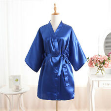 Hot Women robe Silk Satin Robes Wedding Bridesmaid Bride Gown kimono Solid robe