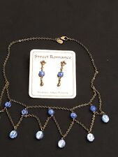 SWEET ROMANCE BLUE GLASS  NECKLACE AND EARRINGS