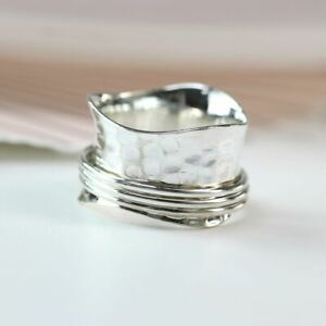 BNWT 925 STERLING SILVER WAVY HAMMERED SPINNING RING - FREE P&P