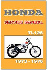 HONDA Workshop Manual TL125 1973 1974 1975 1976 & 1977 Service & Repair