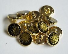 Pack of 10 Gold with Black Sparkly Centre design Loop/Shank 12mm  0019