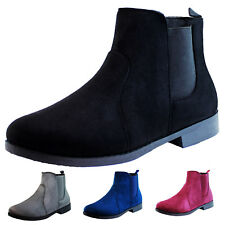 New Womens Ladies Chelsea Ankle Boots Faux Suede Flat Shoes Sizes 3-8