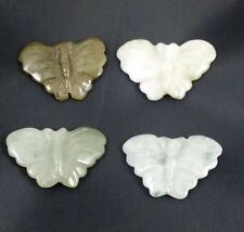 Natural JADE carved butterfly bead / strand 30mm(w) x 19mm(l) - 4 beads