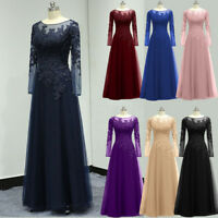 Lace Applique Mother of the Bride Dress Plus Evening Formal Gown Long Sleeves