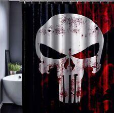 Skull Grunge Gothic Punk Waterproof Bath Drape Hooks Shower Curtains DIY
