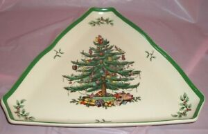 """LARGE 12"""" SPODE CHRISTMAS TREE TRIANGLE SHAPED SERVING TRAY NUT CANDY BOWL DISH"""
