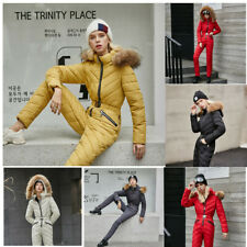 Women Warm Winter Ski Suit One Piece Jumpsuit Overalls Snowboard Jacket Pants
