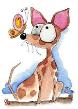 ACEO Original watercolor painting whimsical animal dog chihuahua butterfly