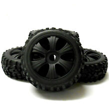 18202 1/8 Scale Off Road Buggy RC 6 Spoke Wheels and Tyres Black x 4