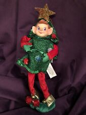 """NEW CHRISTMAS PIXIE ELF 10"""" DECORATIVE WIREFRAME DOLL RED GREEN """"CHRISTMAS TREE"""""""