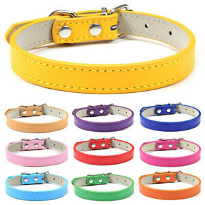 PU Small Dogs Collars Leather Solid Color Puppy Cat Collar For Pets Supplies New