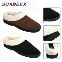 Mens Winter Home Indoor Mules Slippers Fur Lined Slip on Warm Outdoor Cozy Shoes