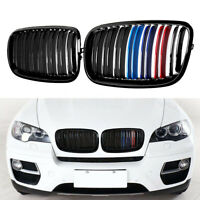 Front Kidney Grill Grille For BMW E70 F16 X5 X6 2007-2013 M-Color Dual Slats ABS