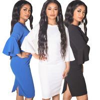 womens ladies 3/4 angel sleeve crew neck midi dress
