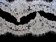 Wedding bridal embroidered corded lace eyelash veil trimming trim 002