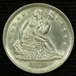 Liberty Seated Silver Half Dime. 1838 . Uncirculated  Lot # 9037-69-038