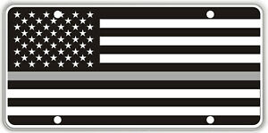 Thin Gray Line over Black & White US Flag Souvenir License Plate