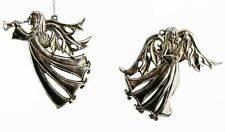 Set of 2 ANGELS Christmas Tree Hanging Decoration Vintage Distressed Aged Silver