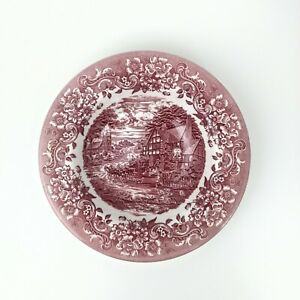 Rim Soup Bowl 17th Century Red by Staffordshire Engraving 8 1/2 inches
