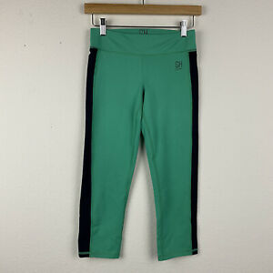 GILLY HICKS SPORT Women's Green Navy SMALL Stretch Active Run Crop Pants R24