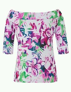 """Ladies Bardot Top - Tropical Floral Print - Size 22 Bust 47"""" *QUALITY*"""