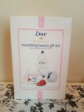 Dove Gift Set With Body Wash, Exfoliating Body Polish, And Pouf