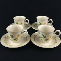 Set of 4 VTG Cups and Saucers by Mikasa Fine Ivory China Royalty Floral Japan