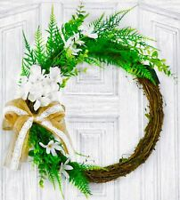 Abloomtouch 16.5 Inch Wreath Boxwood White Hydrangea Artificial Door Farmhouse