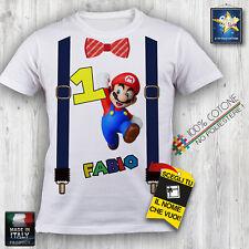 T-shirt maglietta COMPLEANNO BIRTHDAY SUPER MARIO PERSONALIZZATA IDEA REGALO FUN