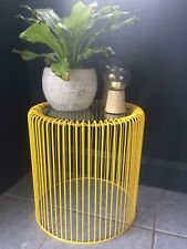 Contemporary, vintage style wire frame, glass top occasional table