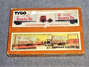 TYCO HO Scale 348 Piggyback Flat Car Set Santa Fe Unused In Original Box