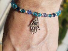 Gorgeous Lucky 925 Sterling Silver Hamsa charm & 4mm Swarovski Beads Hand craft